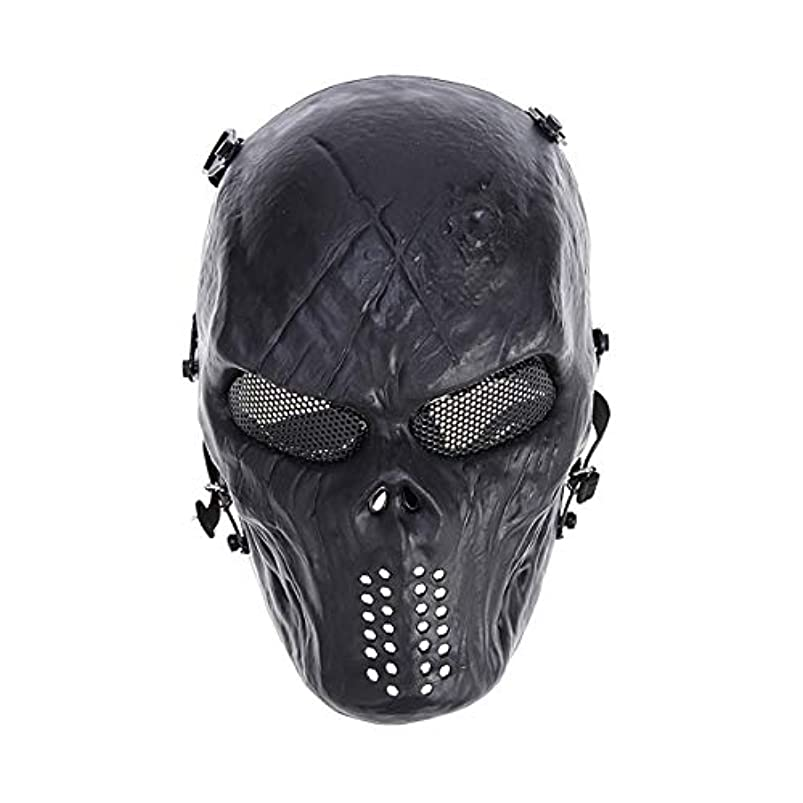 対話酸化する感染するVORCOOL CSフィールドマスクハロウィンパーティーコスチュームマスク調整可能な戦術マスク戦闘保護顔耳保護征服マスク(黒)