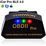 Car Bluetooth OBD2 Code Readers, TONWON OBDII Bluetooth Scan Tool ELM327 Car Diagnostic Tool Vehicle Scanner for iOS and Andiord (BLE 4.0 with iOS and Android)