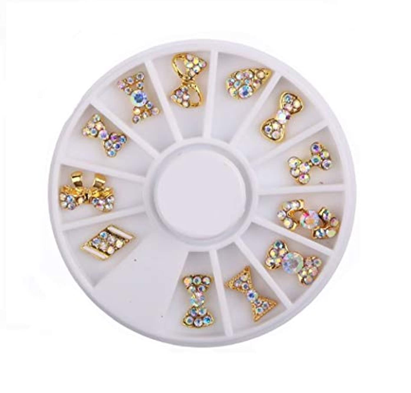 クレデンシャル宝石証明するネイルパーツ ネイルジュエリー リボンミックス ネイルデザイン 3D デコ 材料 QT-012 (ゴールド)