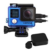 SOONSUN Side Open Protective Skeleton Housing Case with LCD Touch Backdoor and Standard Protective Housing Lens Cap Cover for GoPro Hero 4 Silver & Black ((blue)) [並行輸入品]