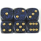 Golden Colbalt Speckled Dice Gold Pips D6 16mm Pack of 6 Wondertrail WCX25737E6