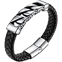 Valily Chunky Leather Braided Bracelet with Stainless Steel Cuban Link Chain Accessory 8 Inches Wrist Bracelet with Magnetic Clasp Men