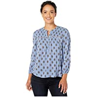 Lucky Brand Women's Inset Lace Button Up Mock Neck Top