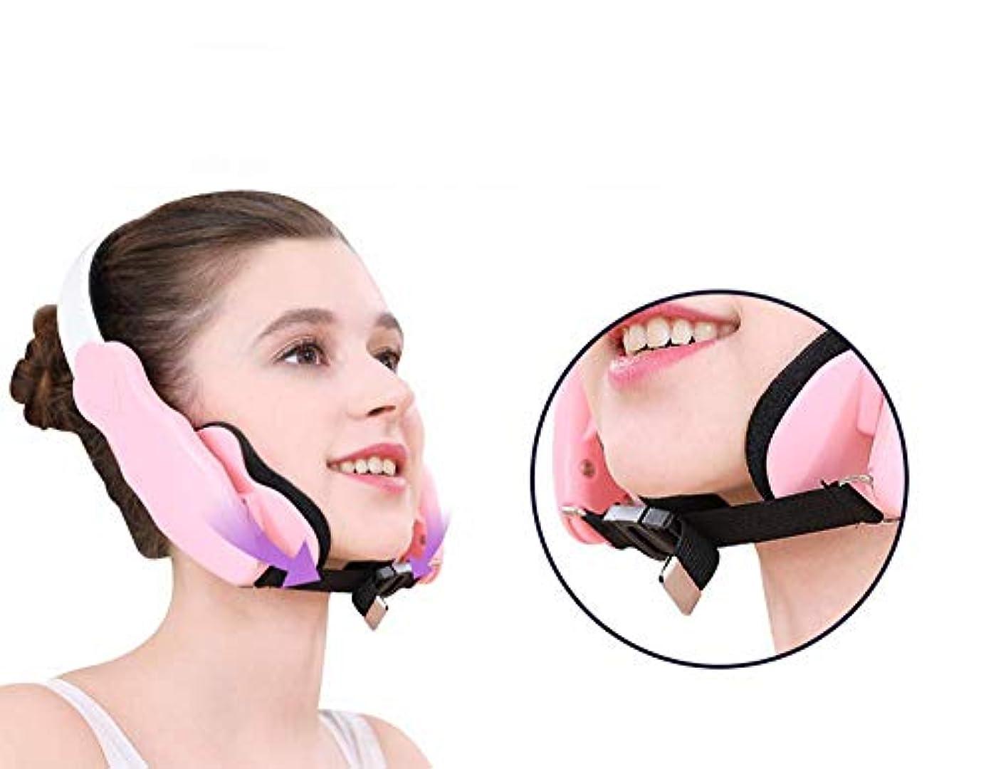 きらめくビジョン生産的Nfudishpu物理的な顔リフティング器具V顔包帯下顎仙骨咬筋補正サイズ顔非対称6ギア位置