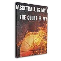 バスケットボール は 私の生活 木製額縁 ポスター 壁の絵 装飾画 壁掛け アートパネル 部屋飾り 軽くて取り付けやすい 居間 背景 モダン 玄関 40X30cm