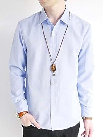 (モノマート) MONO-MART オックスフォード シャツ サマー きれい目 モード 細身 トップス ビジネス デザイナーズ 柄 無地 カラー メンズ ブルー Lサイズ
