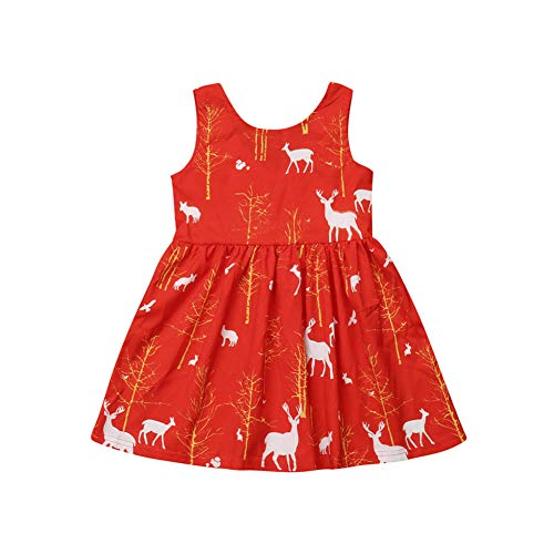 newEmergingstyle Toddler Girl Christmas Dress Kids Princess Party Tutu Red Xmas Dresses Clothes 1-6 Years (4-5 Years, red)