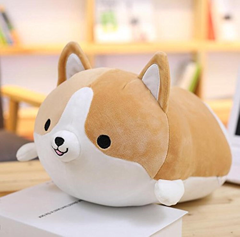 HuaQingPiJu-JP 50cmピローコーギー犬のおもちゃラブリーコーギー犬の形のクッションぬいぐるみソフトおもちゃの人形子供ギフト(ブラウン)