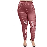 Jahurto Printed Trousers Denim Denim Jeans Plus Size Womens Leggings (Color : Style_b-red, Size : XXXXX-Large)