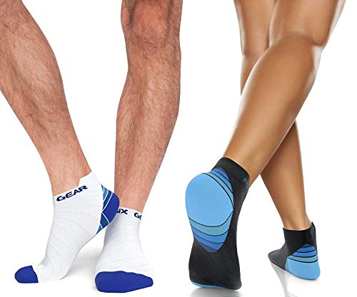 Compression Running Socks Men & Women - Best Low Cut No Show Athletic Socks for Stamina Circulation & Recovery - Durable Ankle Socks for Runners, Plantar Fasciitis & Cycling - 2 Pairs BLU BLK S/M