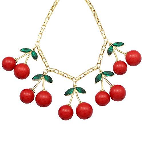 【クークーファッション】Q&Q Fashion 分厚いです 10 大きい レッド 赤 チェリー ペンダント ゴールド ライン チェーン クリスタル ロカビリー 首輪 ネックレス