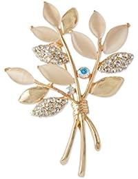 Fenteer オリーブの枝 気質 ブローチ ピン 秋と冬 ジュエリー 衣類 魅力 アクセサリー ゴールド