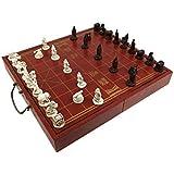ZEYUGTIW 高級木製チェスゲームセット 折りたたみ式 チェスボード トラディション チェス 樹脂チェスピース 新しいボードゲーム