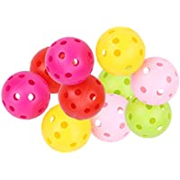 CLISPEED 12pcs Airflow Golf Ball Plastic Golf Playing Ball Golf Practice Perforated Hollow Ball Sports Golf Supplies for Women Men Beginner (Mixed Colors)