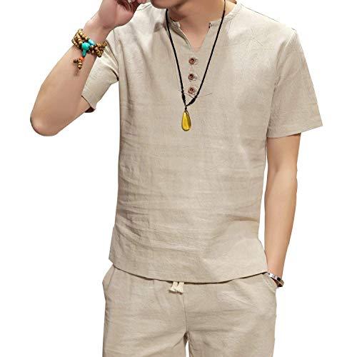 メンズ Vネック 半袖 Tシャツ ボタン 3枚 付き 綿麻 半袖 無地 Tシャツ ヘンリーネック 夏服 半袖 シャツ 部屋着 普段着
