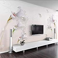 Lcymt ヨーロッパスタイルの3Dステレオジュエリーユリ写真の壁紙寝室のリビングルームテレビソファの背景壁の絵3D壁画壁紙-150X120Cm