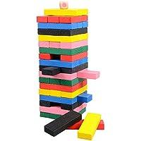Aolvo 木製積み重ねボードゲーム 積み重ねタワーボードゲーム 子供向け積み木 楽しい屋外 芝生 庭ゲーム 54ピース