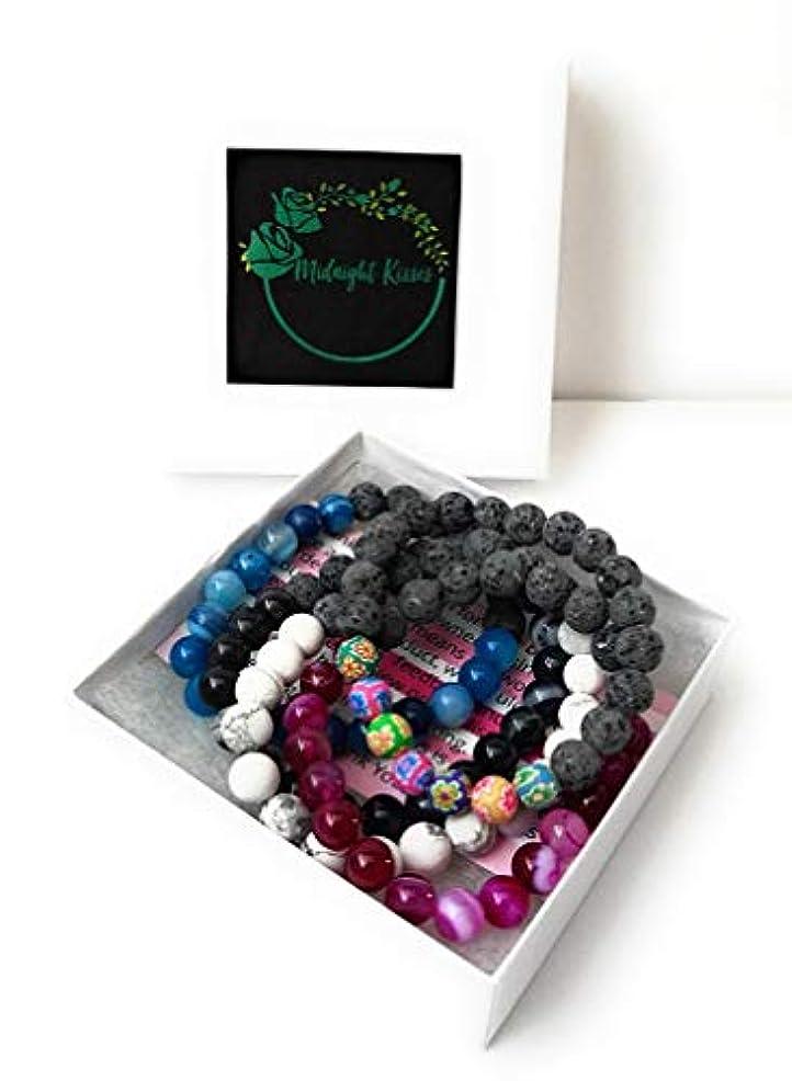 サスペンド学生前奏曲Authenticラバストーンブレスレットfor Women Essential Oilアロマテラピーの理想的なストレス&不安relief-chakra Diffuser Healing Rock beads-meditationヨガジュエリー グリーン