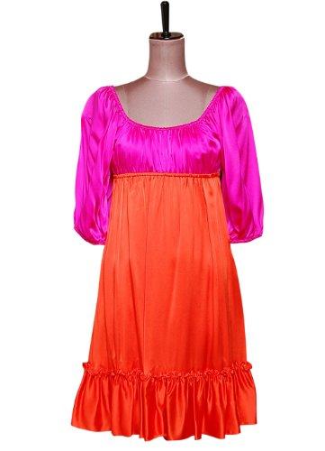 ピンクオレンジギャザードレスワンピース ベッツィ ジョンソン