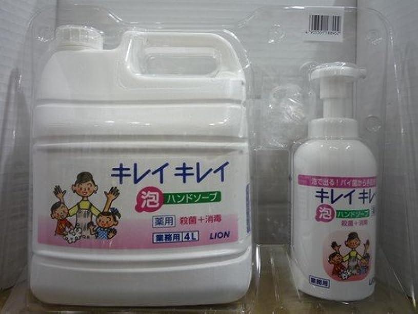 毎日ひねり剃るキレイキレイ 薬用泡ハンドソープ 業務用 4L+キレイキレイ 薬用泡ハンドソープボトル550ml