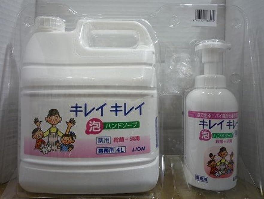 やさしく性別発表するキレイキレイ 薬用泡ハンドソープ 業務用 4L+キレイキレイ 薬用泡ハンドソープボトル550ml