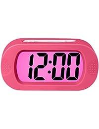 ZHPUAT 目覚まし時計 デジタル スヌーズ カラフル 簡単設定 シリコーン保護 大画面(ピンク)