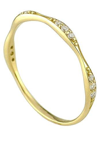 [アリゼ]Alize 新宿銀の蔵 K18 ダイヤモンド バニラビーンズ リング 5号?13号 (6号) 指輪 レディース シンプル 金