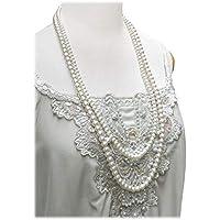 ネックレス レディース パール 2連 ロングネックレス フェイクパール 真珠(ボリュームタイプ 二連)【結婚式 パーティ フォーマル】おしゃれしての外出や普段使いにも