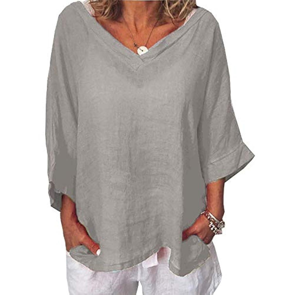 地平線計算裂け目MIFAN女性ファッションカジュアルVネックトップス無地長袖Tシャツルーズボヘミアンビーチウェア