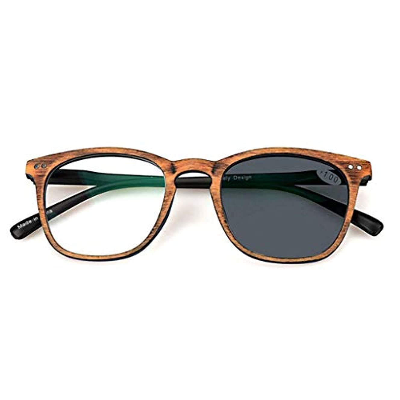空白設置優越老眼鏡、遷移型フォトクロミックプログレッシブマルチフォーカスサングラス、放射線防護、UV保護、メンズ/レディース,Brown,+1.5