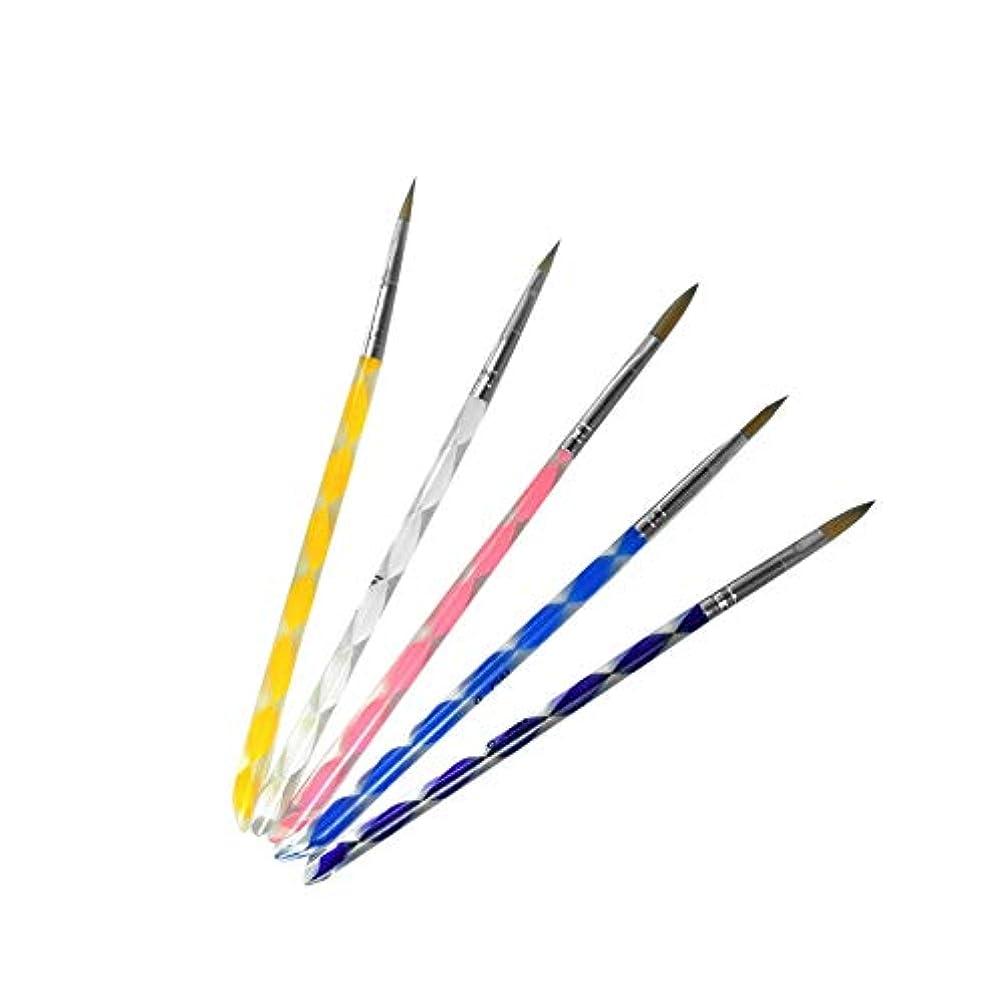 トリップ徒歩で解釈的絵筆5PCSネイルマニキュアペディキュアマニキュアペイントブラシ詳細ペイントブラシは、自然スパイラル偽、アクリルやジェルネイルを扱います