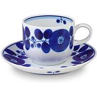 白山陶器 コーヒーカップ&ソーサー 青 (約)φ7.5×6cm φ14.5×2cm 200ml ブルーム BLOOM 波佐見焼 日本製