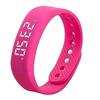 Tivollyff スマートウォッチ 3D T5 LEDディスプレイスポーツゲージフィットネスブレスレットスマートステップトラッカースマート歩数計男性女性リストバンドスマートバンドは赤