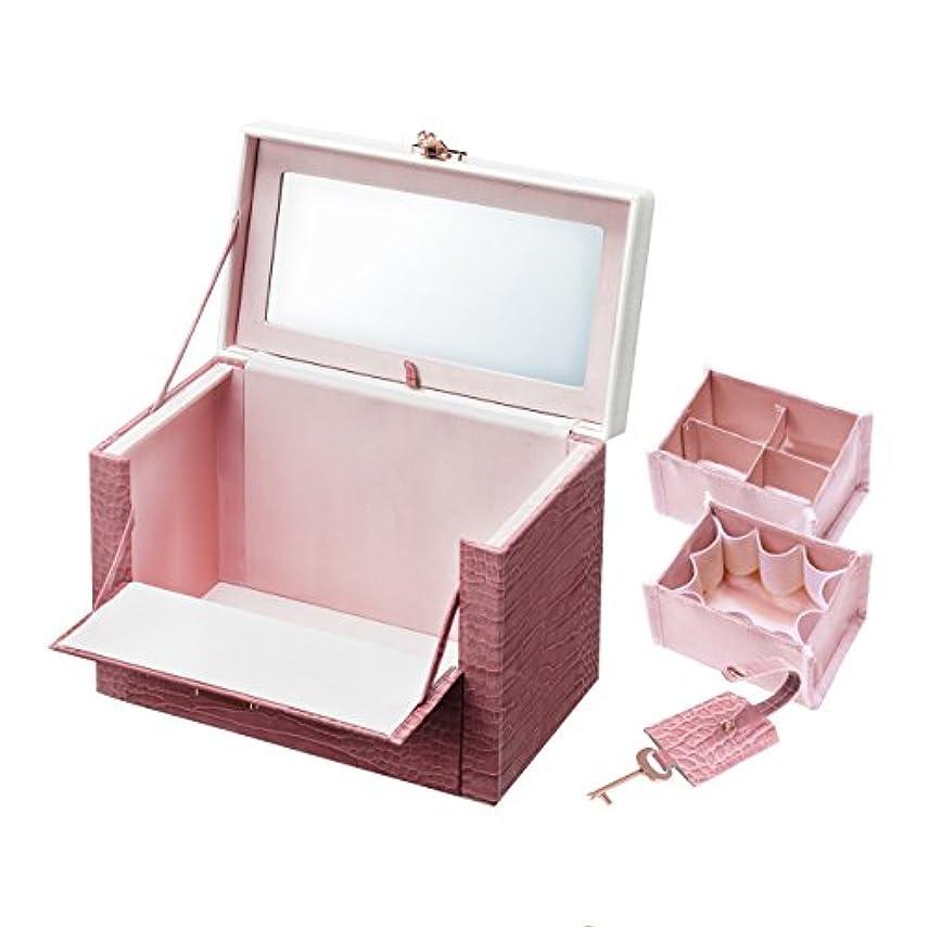 眠り記念品アナログワタシ流にカスタマイズできる クロコ柄メイクボックス クラッセ ピンク