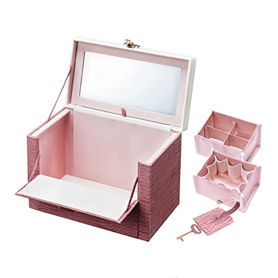 びん平らな特徴づけるワタシ流にカスタマイズできる クロコ柄メイクボックス クラッセ ピンク