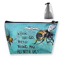 台形 化粧ポーチ 蜂を救う レディース 収納 小物入れ 小銭入れ ペンケース コイン財布 メイクボックス メイクポーチ コスメティックバッグ ウォレット