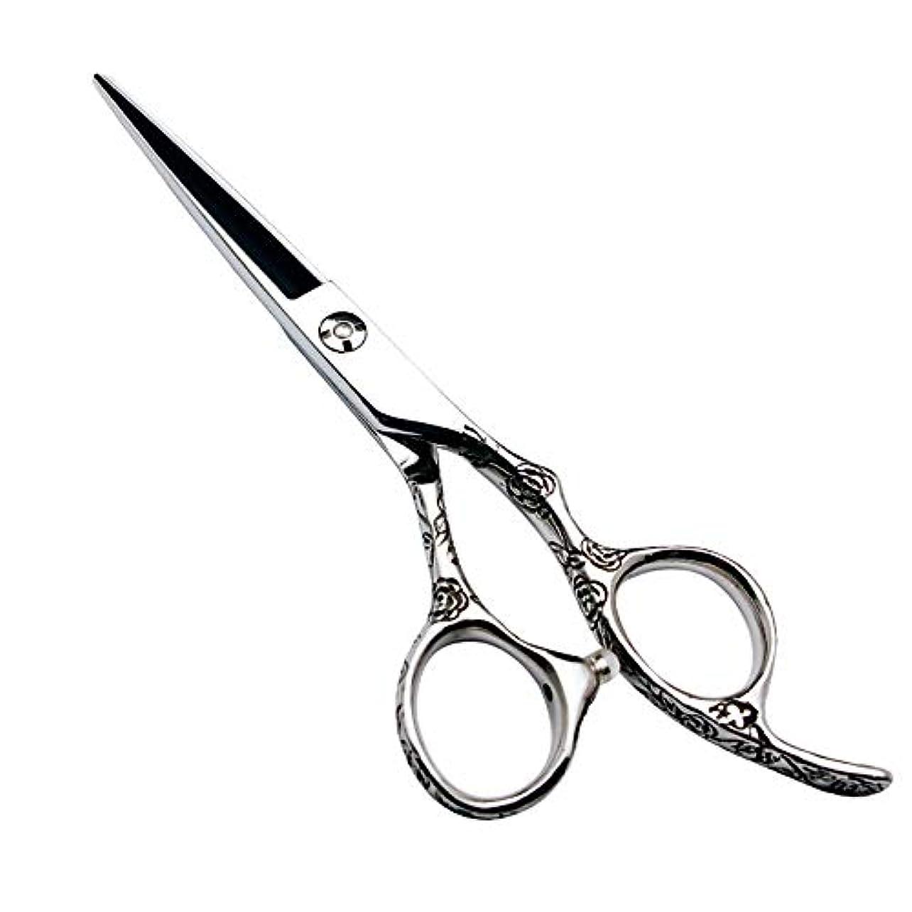 キャメル上流の展開する理髪用はさみ 6インチ美容院プロフェッショナル理髪セット理髪はさみ、ローズハンドル440 cヘアカット鋏ステンレス理髪はさみ (色 : Silver)
