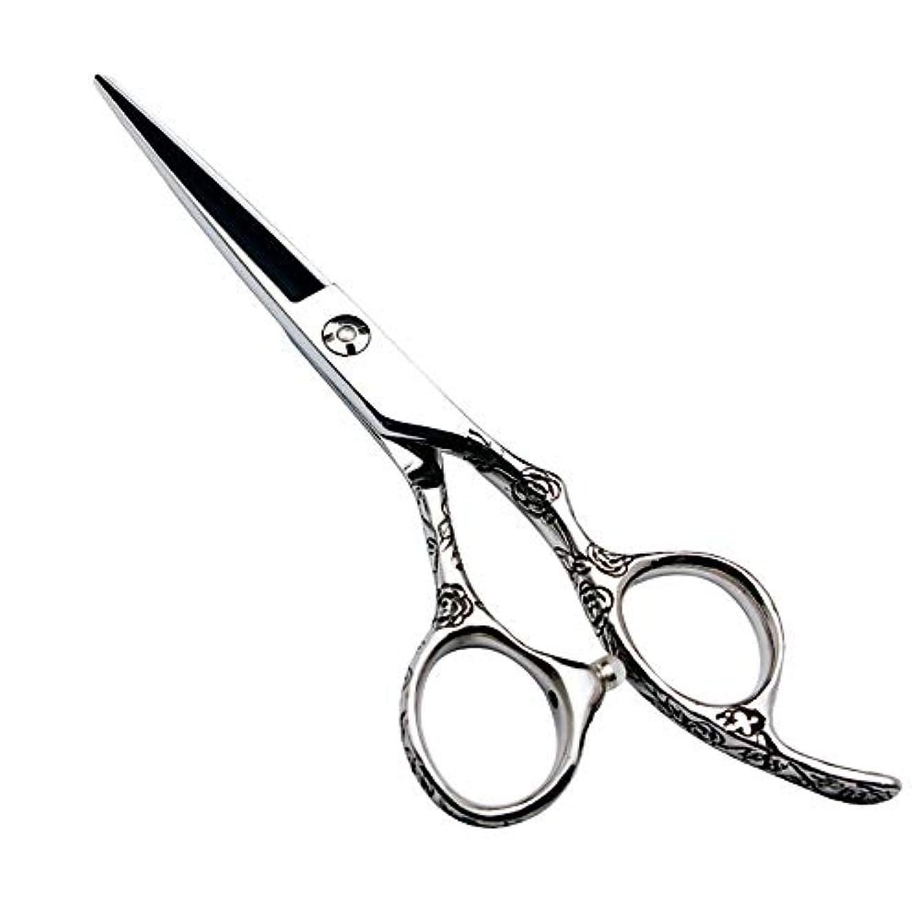 まろやかな市の花囲いGoodsok-jp 6インチの美容院の専門の理髪セットの理髪はさみのローズハンドル440C (色 : Silver)