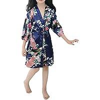zhxinashu Kids Robe Satin Silk Bathrobe Girl Pajamas Clothing(Dark Blue/Size 6)
