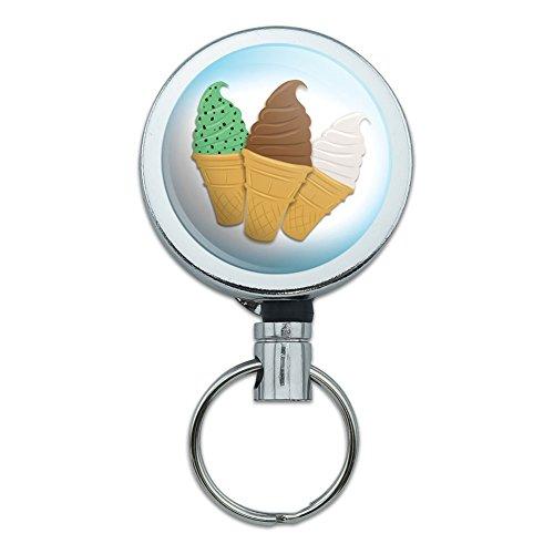 アイスクリームコーンチョコレートバニラリトラクタブルベルトクリップバッジキーホルダー Graphics and More