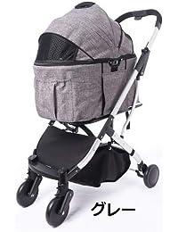 Cocoheart 4輪ペットカート 2wayに使える多頭用 耐荷重20kg 甘えん坊バギー シュシュ (2wayカート?グレー)