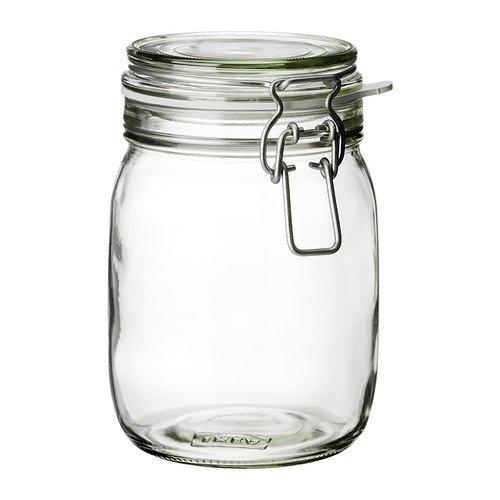 ロックふた付きキャニスター 密閉容器 ガラス製ボトル 透明 1L[当店オリジナルステッカー付]