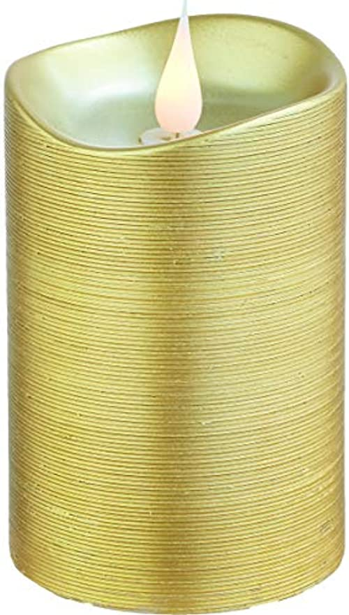 石資格情報熟練したエンキンドル 3D LEDキャンドル ラインピラー 直径7.6cm×高さ13.5cm ゴールド