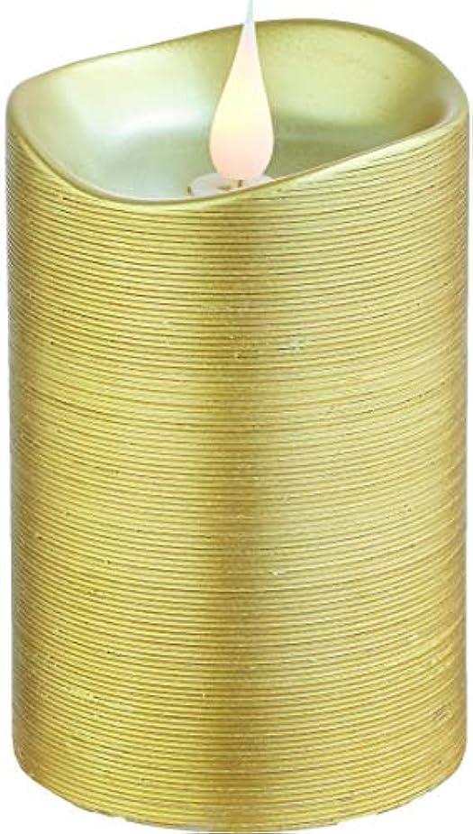 熱望するストライプストライドエンキンドル 3D LEDキャンドル ラインピラー 直径7.6cm×高さ13.5cm ゴールド