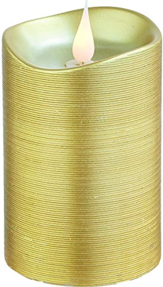 バイパス湿度高いエンキンドル 3D LEDキャンドル ラインピラー 直径7.6cm×高さ13.5cm ゴールド
