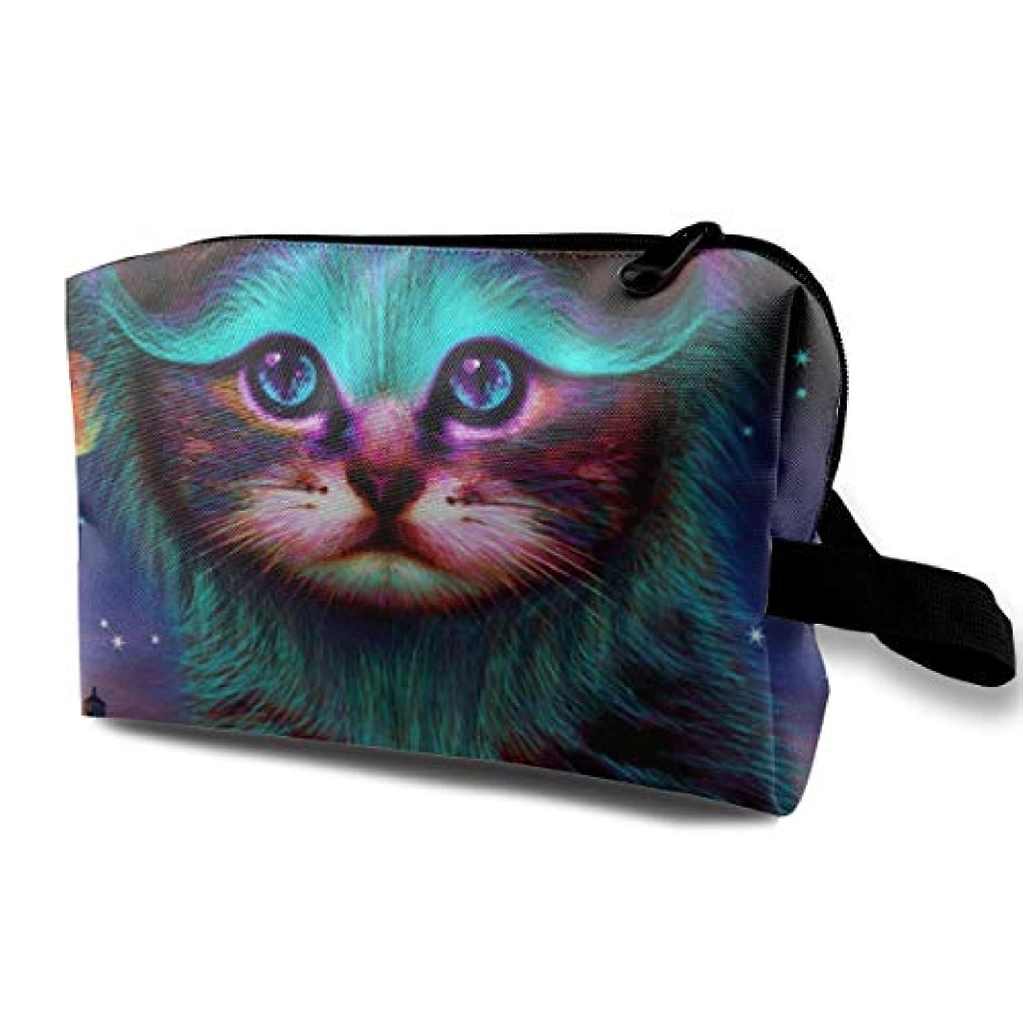容量発掘政策Cute Rainbow Galaxy Kitten 収納ポーチ 化粧ポーチ 大容量 軽量 耐久性 ハンドル付持ち運び便利。入れ 自宅?出張?旅行?アウトドア撮影などに対応。メンズ レディース トラベルグッズ