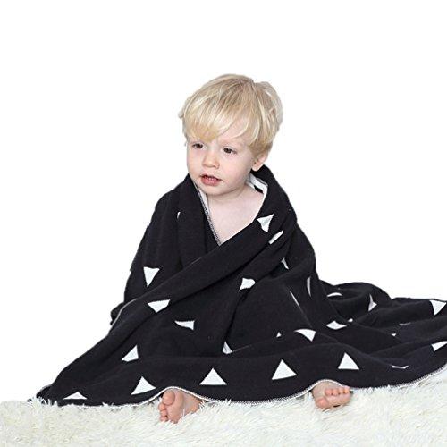 [AMANGU]  ベビーブランケット  子供用 クッション 赤ちゃん ブラック/ホワイト ソファ毛布 車用ケット マイクロファイバー クーラー冷え防止 吸湿性が高く  超柔らかい 綿 サイズ:S、M