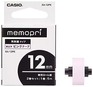 カシオ メモプリ テープ XA-12PK ピンク