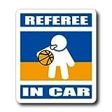 わーるどくらふと REFEREE IN CAR バスケ・バスケットボール審判が車に乗ってます ステッカー (あお)