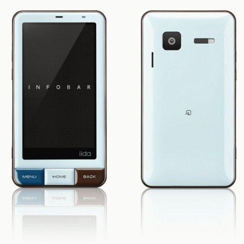 au iida INFOBAR A01 チョコミント(ブルー) by SHARP 白ロム携帯 標準セット品